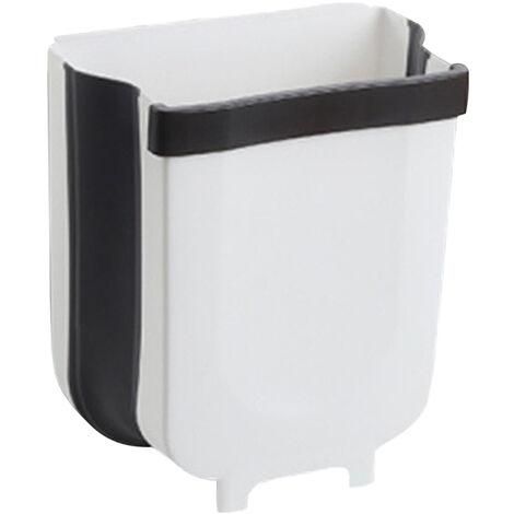 Poubelle Suspendue Type Pliant Portable Porte D'armoire De Menage Tenture Murale Poubelle De Rangement Poubelle De Cuisine Poubelle Suspendue Panier De Voiture Cuisine, Grand Blanc