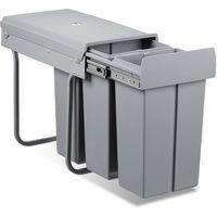 Poubelle tri sélectif recyclage 30 compartiments, HxlxP: 41,8 x 26 x 48 cm, 3 x 10 L, couvercle pour cuisine, plastique, gris