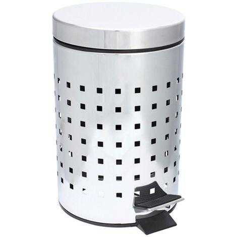 Poubelle WC / Salle de bain Cube - Inox - 3L - Argent - Argent