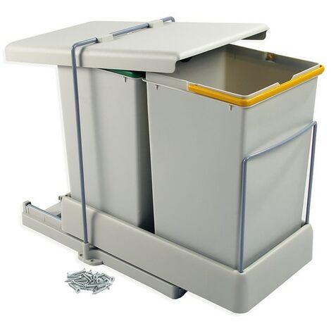 Poubelles de recyclage Emuca à fixation inférieure et extraction automatique avec 2 conteneurs 14 litros