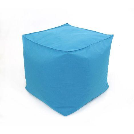POUF A TOUT IN et OUTDOOR - <p>Pouf pour intérieur-extérieur turquoise 30x30</p> - Bleu