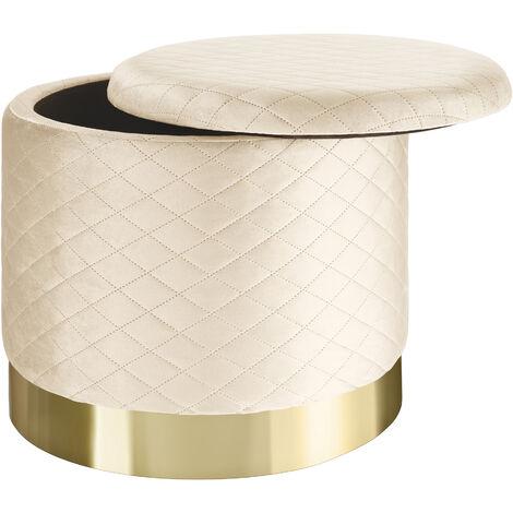 Pouf coffre de rangement aspect velours COCO matelassé - tabouret bas, tabouret design, petit tabouret