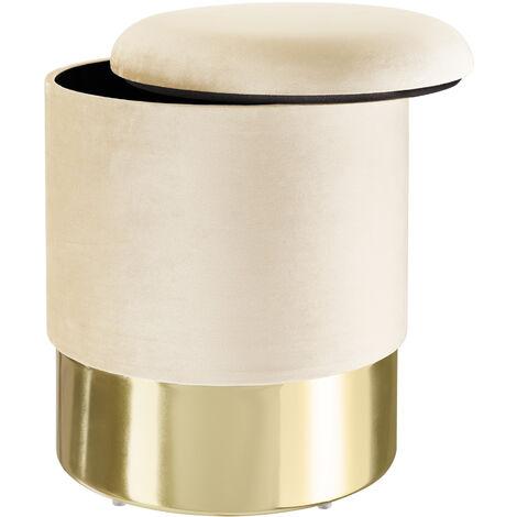 Pouf coffre de rangement aspect velours SARINA - tabouret bas, tabouret design, petit tabouret