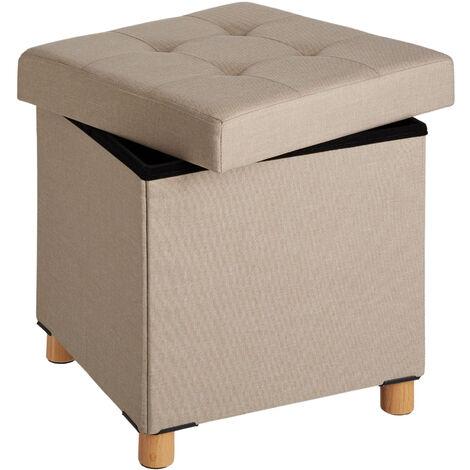 Pouf coffre de rangement pliable ALEA - tabouret tissu, tabouret bas, tabouret scandinave