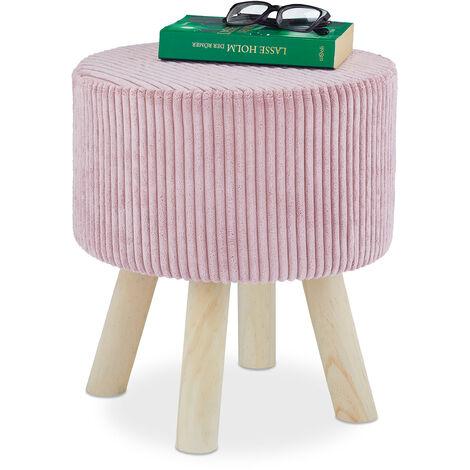 pouf coiffeuse, rond, petit tabouret, rembourré, 4 pieds en bois, velours côtelé, HxD: 41x37 cm, rose