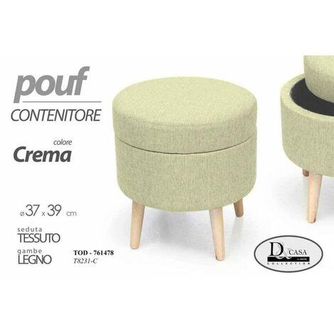 MAURYS Pouf Contenitore Imbottito Velvet Richiudibile con Sedile Apribile Effetto Velluto Colore Grigio 38 x 38 x 37,5 CM
