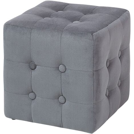 Pouf Cube Footstool Padded Fabric Footrest Bedroom Living Room Grey Wisconsin