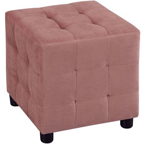 Pouf cubique BAZAR bout de canapé repose pieds tabouret carré en forme de dé siège rembourré, en velours capitonné cuivre rose