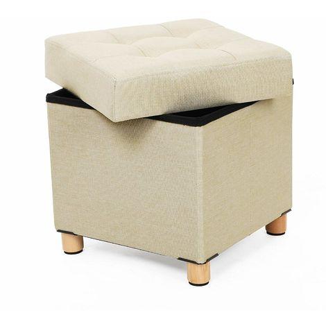 BRIAN /& DANY Pouf Cubo Poggiapiedi Sgabello Contenitore Cassapanca Pieghevole 38 x 38 x 40 cm Verde