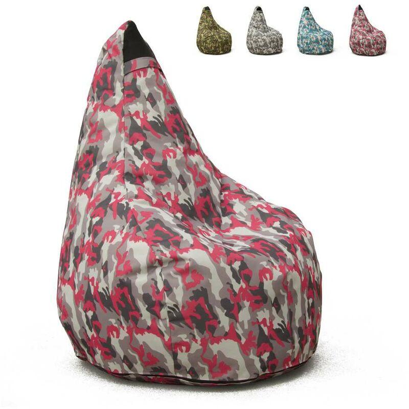Pouf Fauteuil Pouf sac à Poire pour Extérieur Imperméable Mimétiques Made in Italy Summer Camouflage | Couleur: Pinky