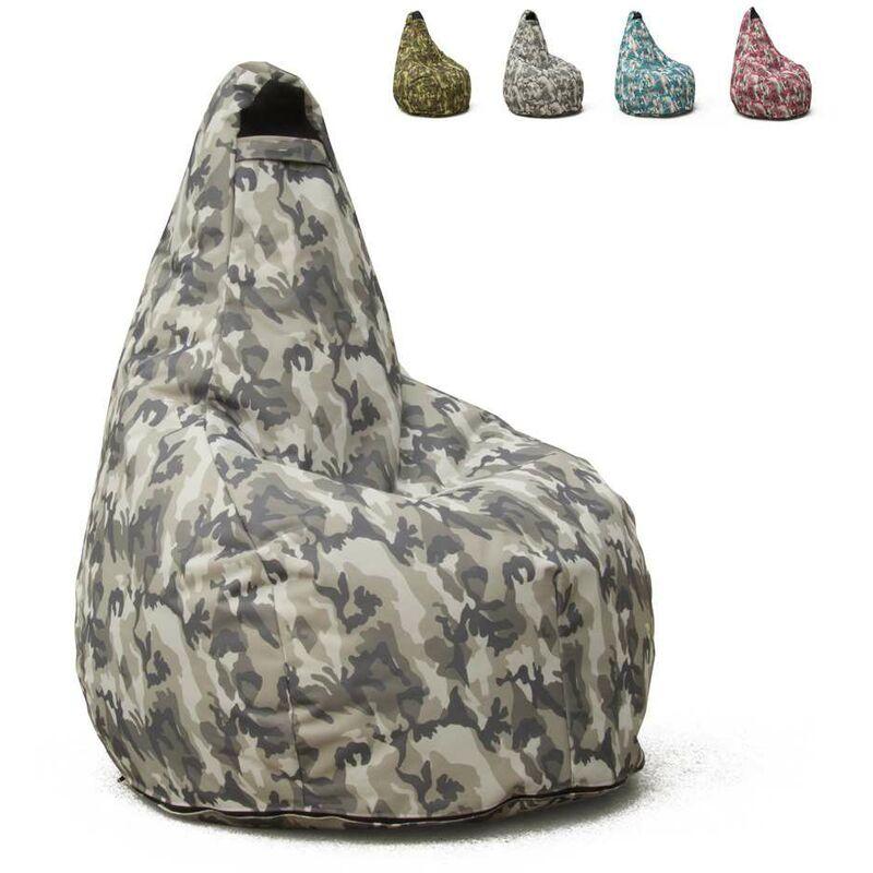 Pouf Fauteuil Pouf sac à Poire pour Extérieur Imperméable Mimétiques Made in Italy Summer Camouflage | Couleur: Urban