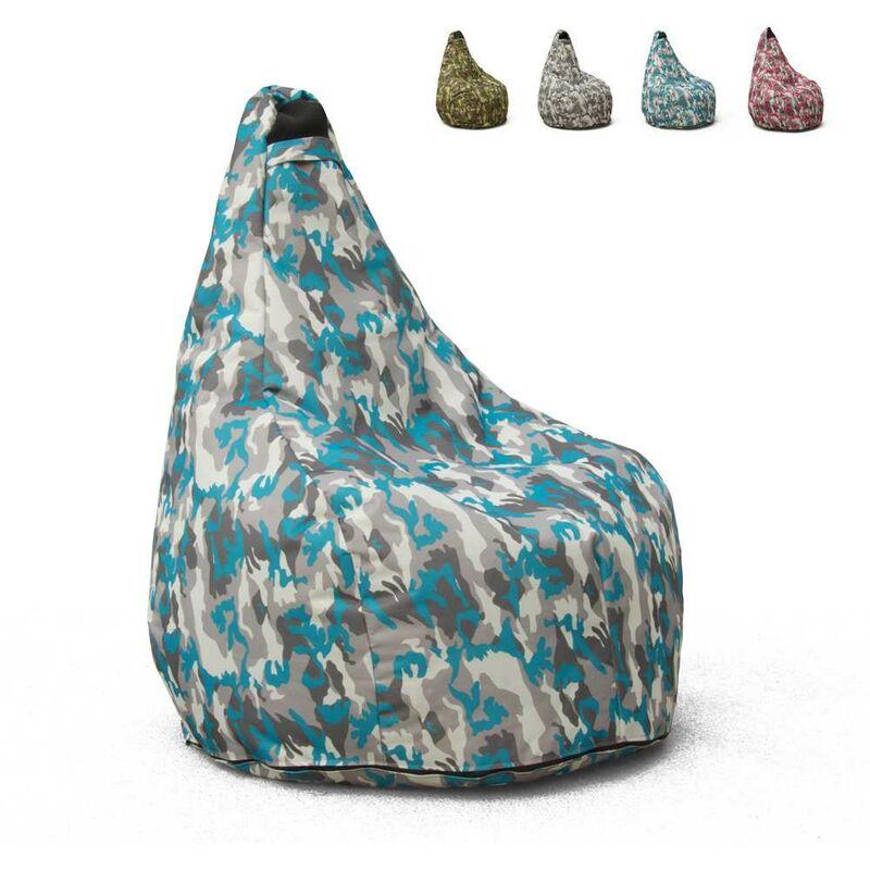 Pouf Fauteuil Pouf sac à Poire pour Extérieur Imperméable Mimétiques Made in Italy Summer Camouflage | Couleur: Navy