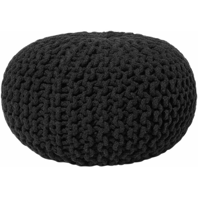 Beliani - Pouf poggiapiedi in tessuto nero 40 x 25 cm CONRAD