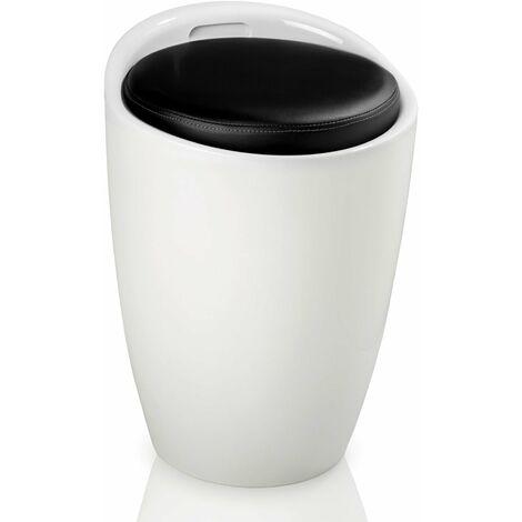 Pouf rond tabouret siège coffre de rangement meuble blanc et noir - Blanc