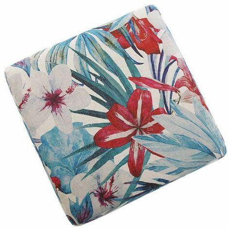 Pouf salon carré en tissu motifs végétaux Flores Rose - rouge - vert - Rose - rouge - vert