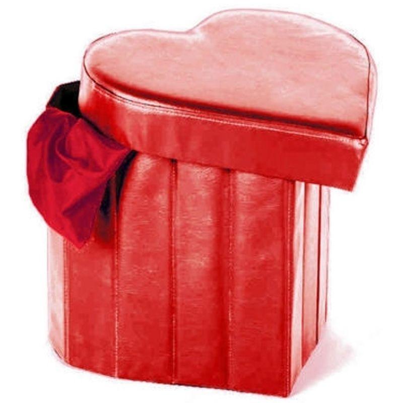 Grigio Trade Shop Pouf Scatola PORTAOGGETTI Puff POGGIAPIEDI A Forma di Cuore in Ecopelle Colore