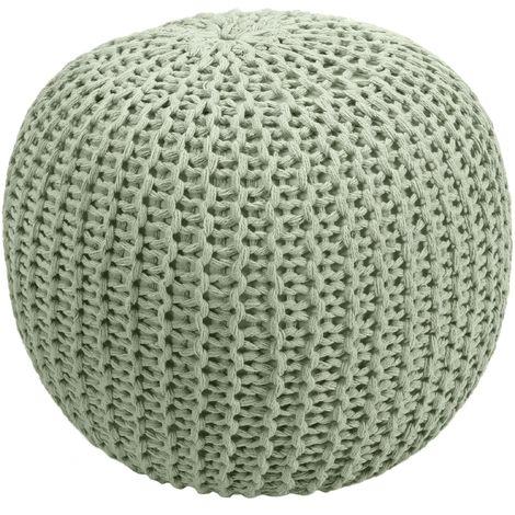 Pouf tricot vert clair Elisa ∅ 40cm - Vert