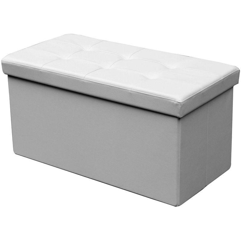 POUFF - Banquette coffre pliable blanc - MOBILIER DECO