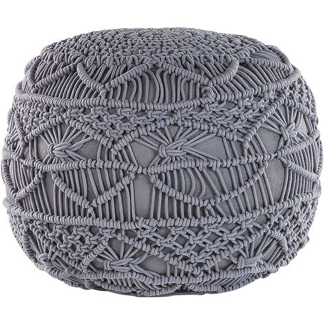 "main image of ""Pouffe Grey Boho Knitted Round Cotton Ottoman 40 x 40 cm Kayseri"""