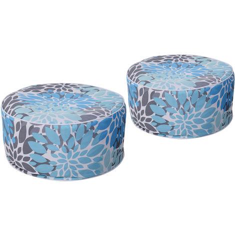 Poufs gonflables lot de 2 minis fauteuils poire poignée de transport intégrée housse amovible imperméable PVC polyester gris bleu