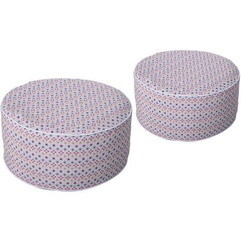 Poufs gonflables lot de 2 minis fauteuils poire poignée de transport intégrée housse amovible imperméable PVC polyester multicolore
