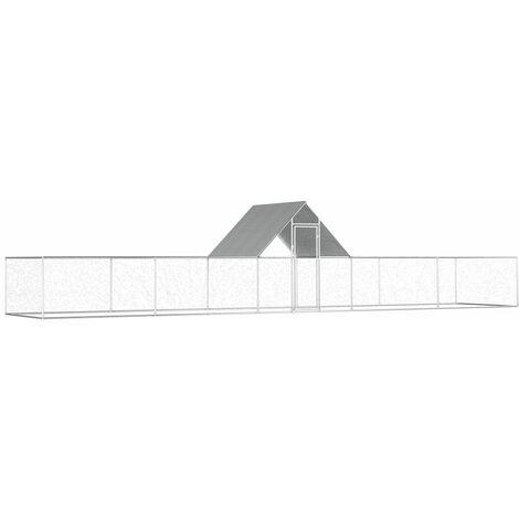 Poulailler 10 x 2 x 2 m Acier galvanisé