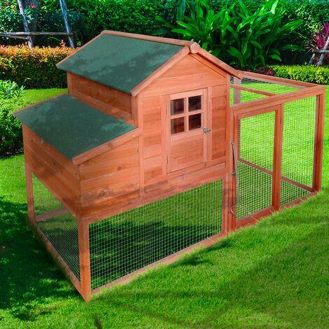Poulailler 2-3 poules avec pondoir et enclos bois 1985x790x1200 mm BIGSIZE, 2 portes, 2 perchoirs, rampe interne, imperméable, nettoyage facile - de BRAST