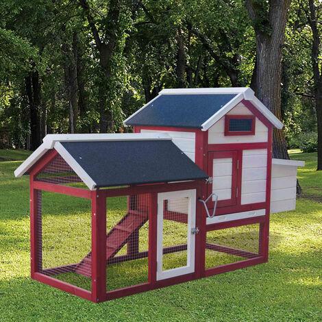 Poulailler 2 poules avec pondoir et enclos bois PREMIUM 1520x620x920 mm, 2 portes verrouillables, imperméable, nettoyage facile - de BRAST