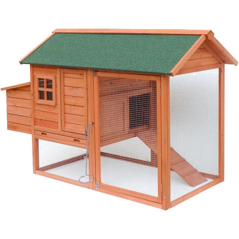 Poulailler avec espaces extérieurs et abri accrue, en bois de sapin, avec toit tar, 1710x800x1100mm