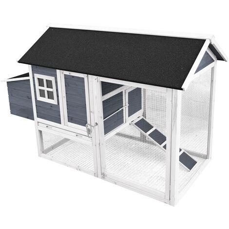 Poulailler avec espaces extérieurs et abri accrue, en bois de sapin, en gris 1710x800x1100mm