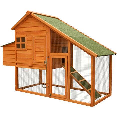 Poulailler avec espaces extérieurs et nichoir, en bois de sapin 1710x660x1200mm, grill galvanisé