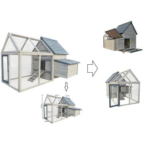 Poulailler / cage bois extérieur enclos libre 166x118,5x112cm