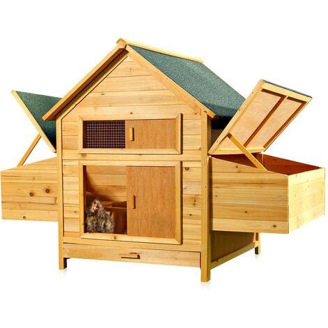 Poulailler, clapier, cages à lapin en bois en libre parcours XXL