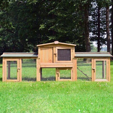 Poulailler Clapier en Bois pour Poule Lapin clapier Petits Animaux 220 x 56 x 83 cm