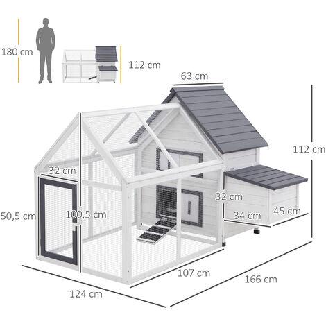 Poulailler clapier modèle villa multi-équipée : rampe, nichoirs, perchoirs, plateau excrément, 2 portes bois massif pin gris blanc