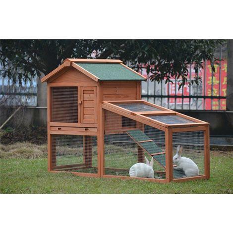 Poulailler Clapier Poulets En Bois Cage Lapins Rongeurs L 145