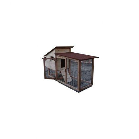Poulailler compact Chico 60 de 1 à 3 poules Bois : Douglas Couleur de la toiture : Vert lichen Peinture : Gris clair