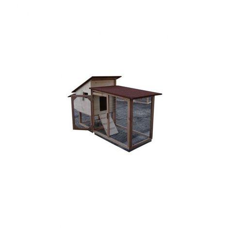 Poulailler compact Chico 60 de 1 à 3 poules Bois : Epicéa Couleur de la toiture : Rouge brique Peinture : Gris clair