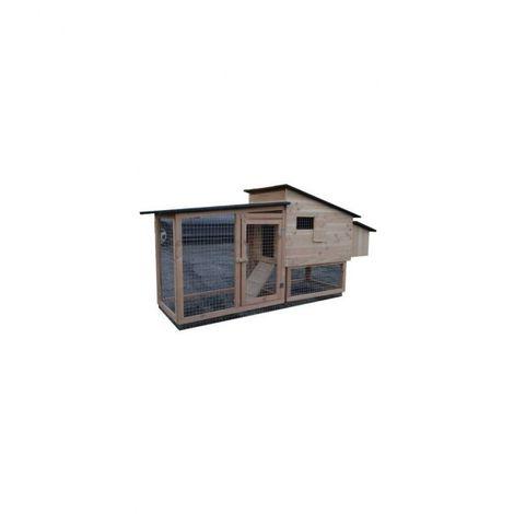 Poulailler compact Chico 80 de 1 à 4 poules Bois : Epicéa Couleur de la toiture : Gris ardoise Peinture : Rouge framboise