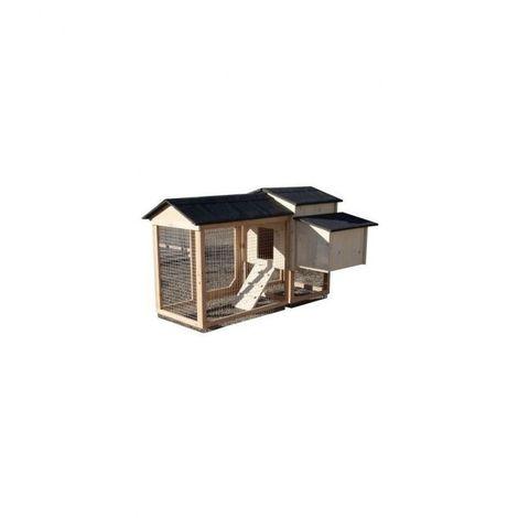 Poulailler compact Lina de 1 à 4 poules Bois : Epicéa Couleur de la toiture : Gris ardoise Peinture : Bleu