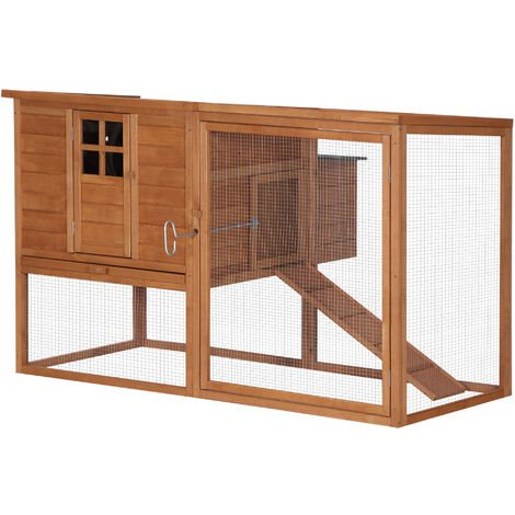 Poulailler cottage cage à poules sur pied dim. 168L x 110l x 101H cm multi-équipement bois sapin lasuré