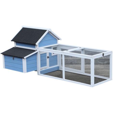 Poulailler cottage cage à poules sur pied dim. 180L x 90l x 79H cm multi-équipement bois massif de pin bleu blanc