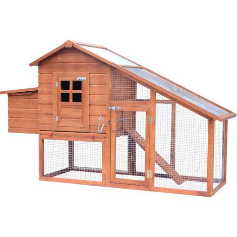 Poulailler cottage cage à poules sur pied dim. 190L x 66l x 116H cm multi-équipement bois massif pin pré-huilé