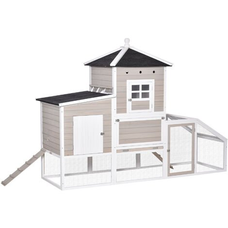 """main image of """"Poulailler cottage cage à poules sur pied dim. 235L x 83l x 171H cm multi-équipement toits bitumés bois sapin blanc gris"""""""