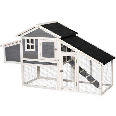 Poulailler cottage cage à poules surélevé dim. 176L x 65l x 100H cm multi-équipement toit bitumé noir bois sapin gris blanc