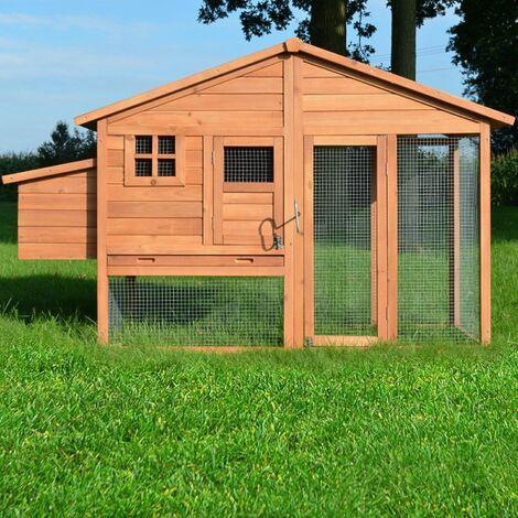 Poulailler de luxe en bois pour jardin extérieur 2-5 poules Cage Canard 2 perchoir Nichoir 190 x 67 x 117 cm