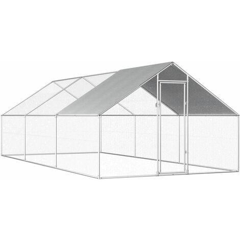 Poulailler d'extérieur 2,75 x 6 x 2 m Acier galvanisé