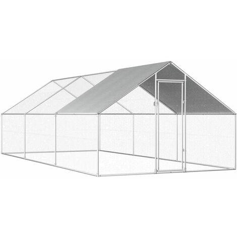 Poulailler d'exterieur 2,75 x 6 x 2 m Acier galvanise