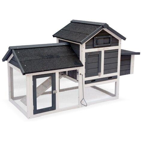 Poulailler en bois anthracite GALINETTE, 3 poules, cage à poule avec enclos