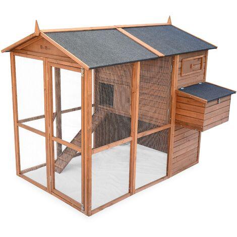 Poulailler en bois COTENTINE, 6 à 8 poules, cage à poule avec enclos